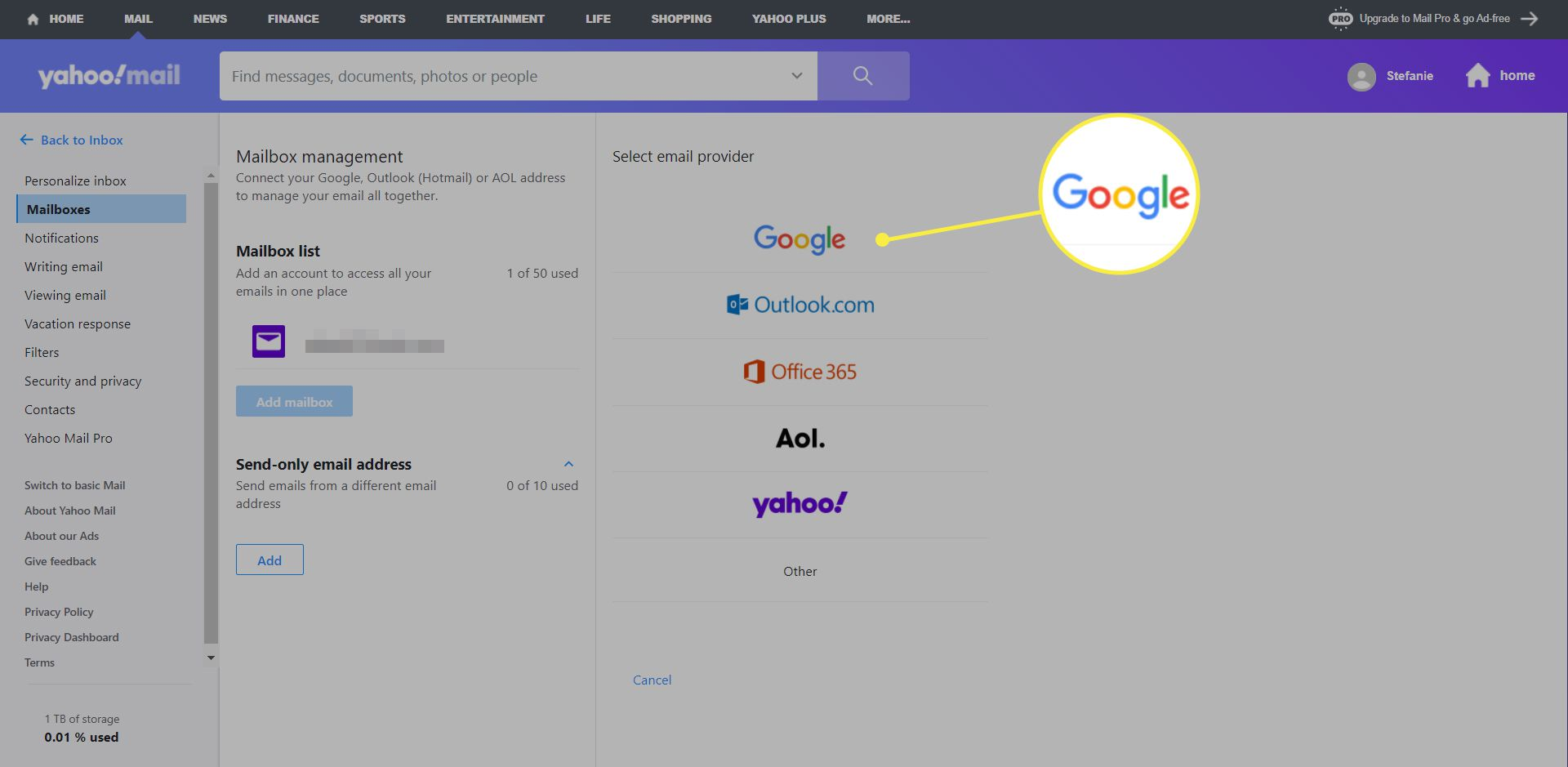 A Yahoo Mail user adds a Google mail account