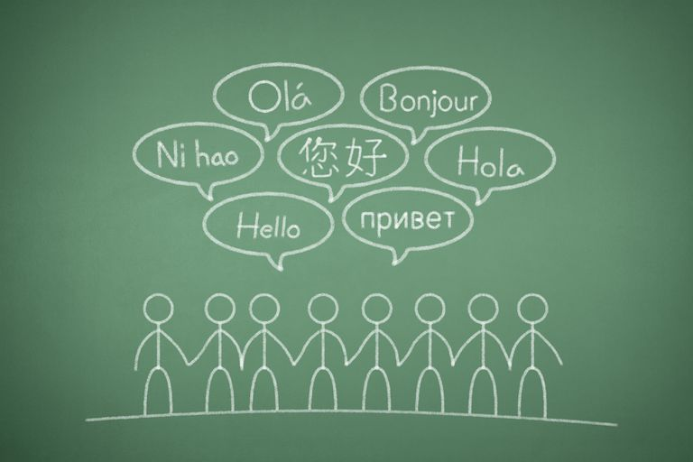 "A chalkboard with stick figures saying ""hello"" in different languages."