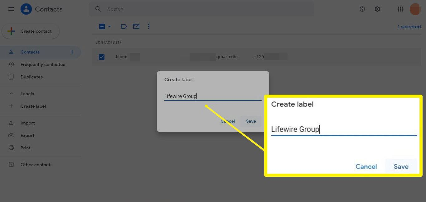 Create new label for Gmail contact