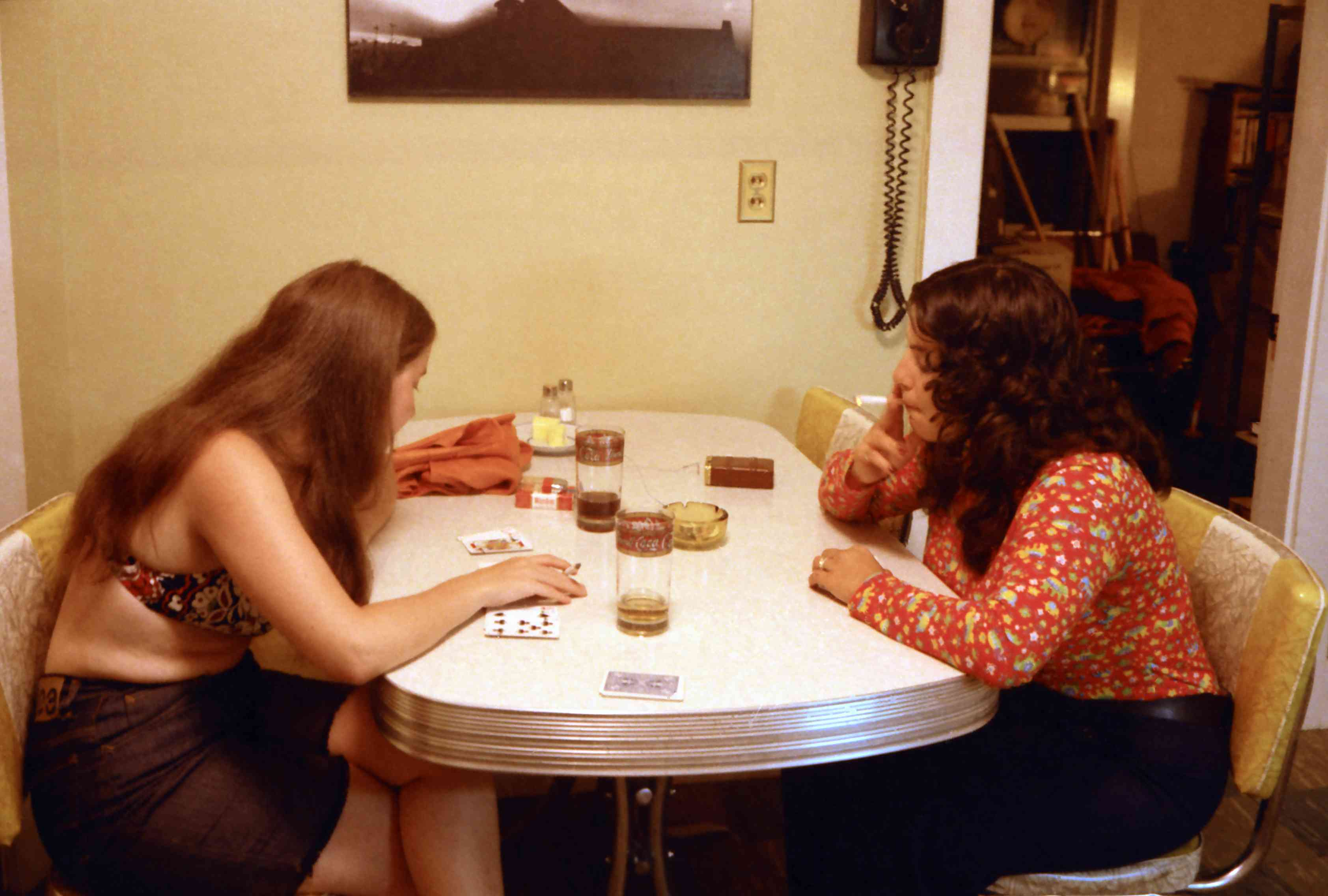 1970s photo of card game in kitchen