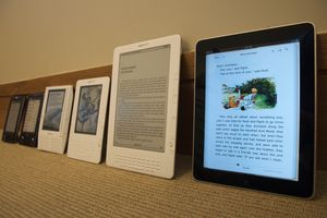 A lineup of Kindles.