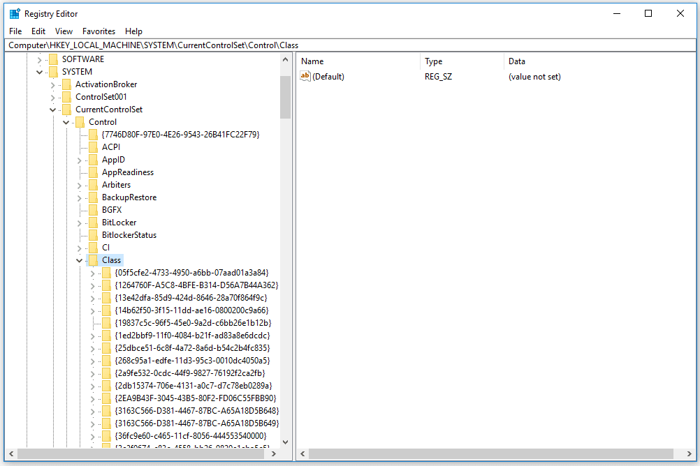 Screenshot of the Class Key Expanded in the Windows 10 Registry Editor