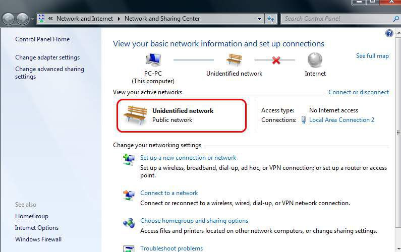 Network and Sharing Center showing unidentified network