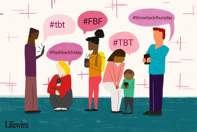 An illustration showing Throwback Thursday and Flashback Friday hashtags