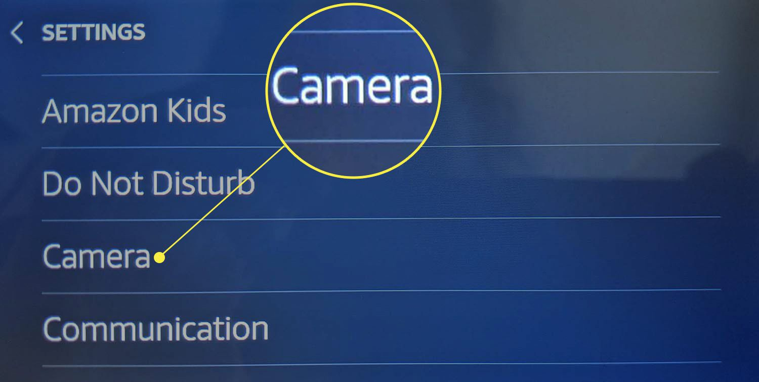 Camera highlighted in Echo Show settings.
