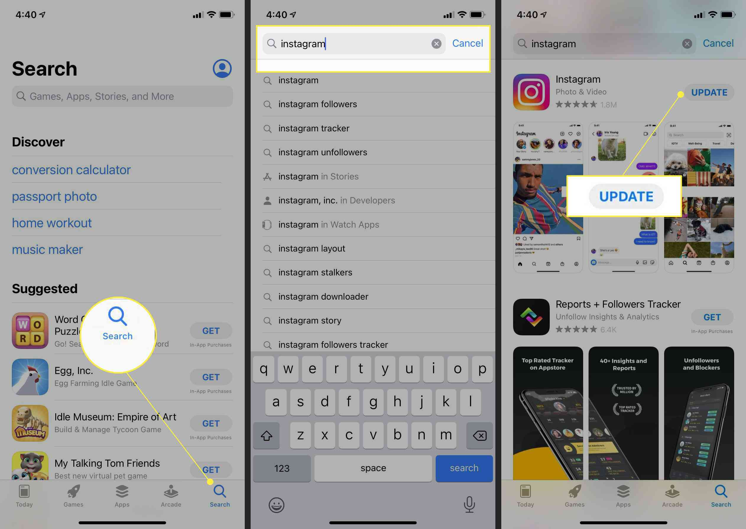Steps to upgrade the Instagram iOS app, with Search, the Search field, and