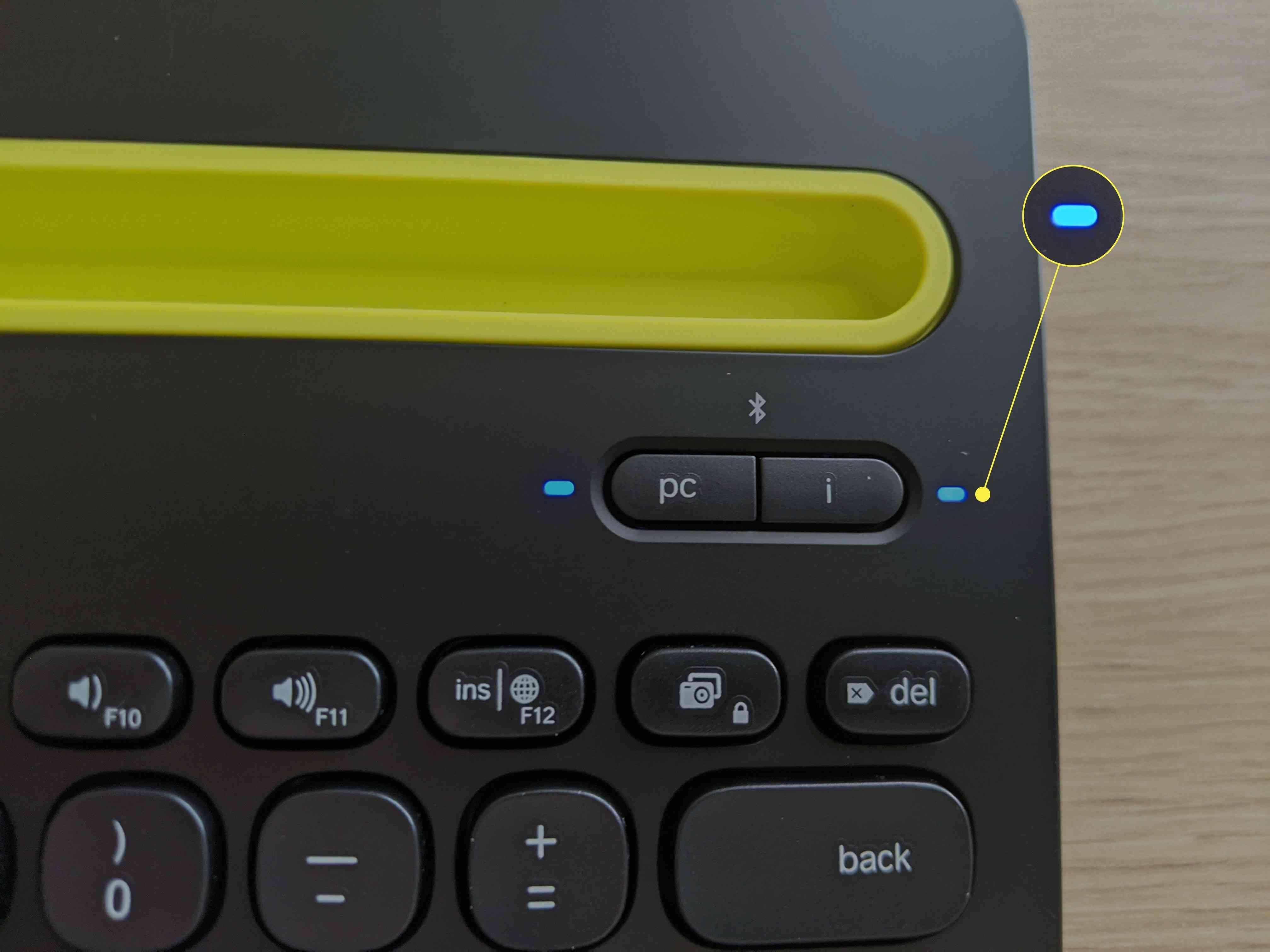 A Bluetooth Logitech keyboard in pairing mode.
