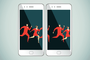 Illustration representing an animated GIF across two smartphones