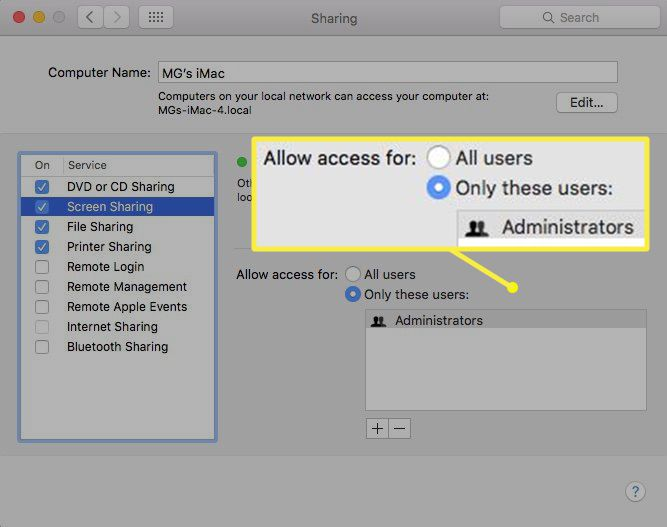 Specifying access for screen sharing between Macs