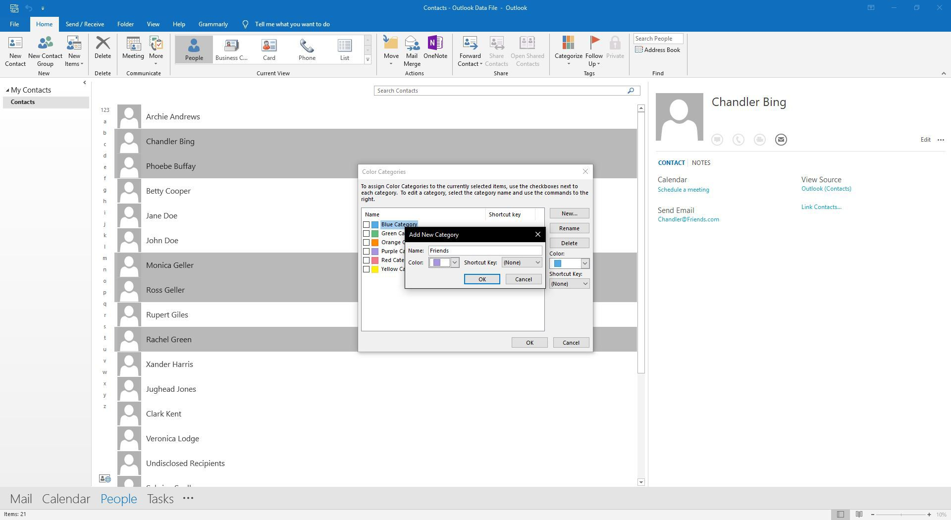 Creating a new category in Outlook