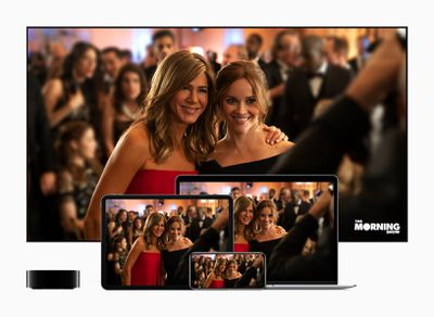 Apple TV+ displayed on a TV, Mac, iPhone, and other devices