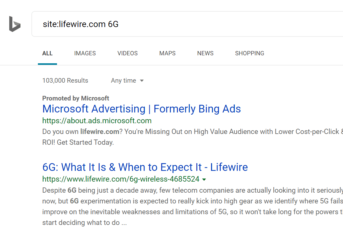 Advanced site search on Bing