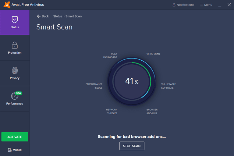 The Smart Scan feature of Avast Free Antivirus running a virus scan on a computer.