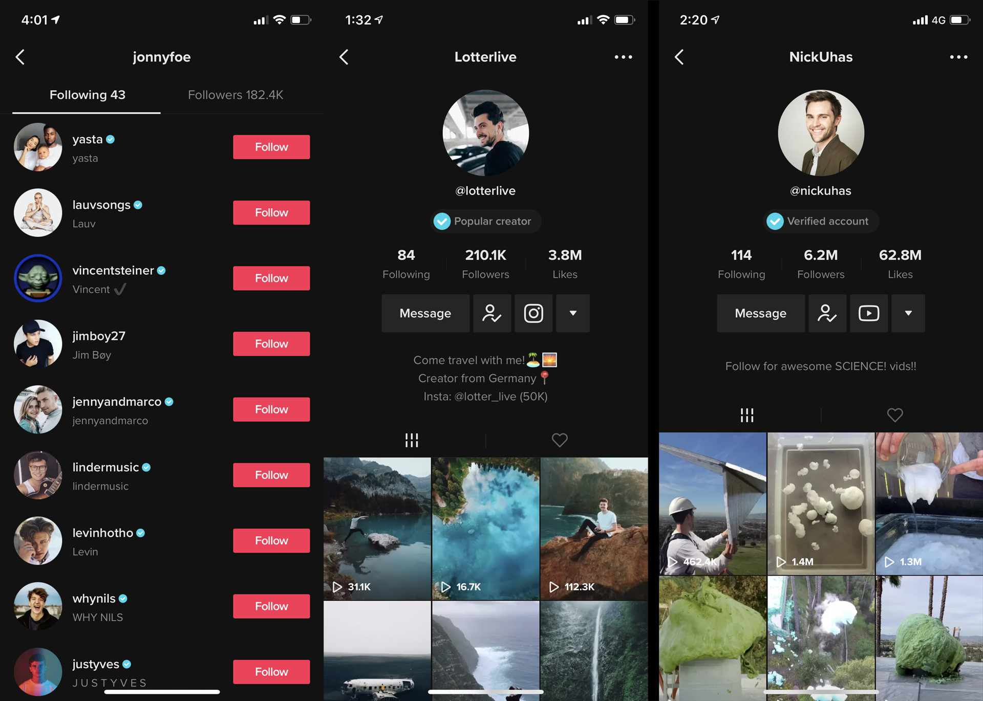 TiKTok app on iPhone showing verified accounts with the blue check mark.