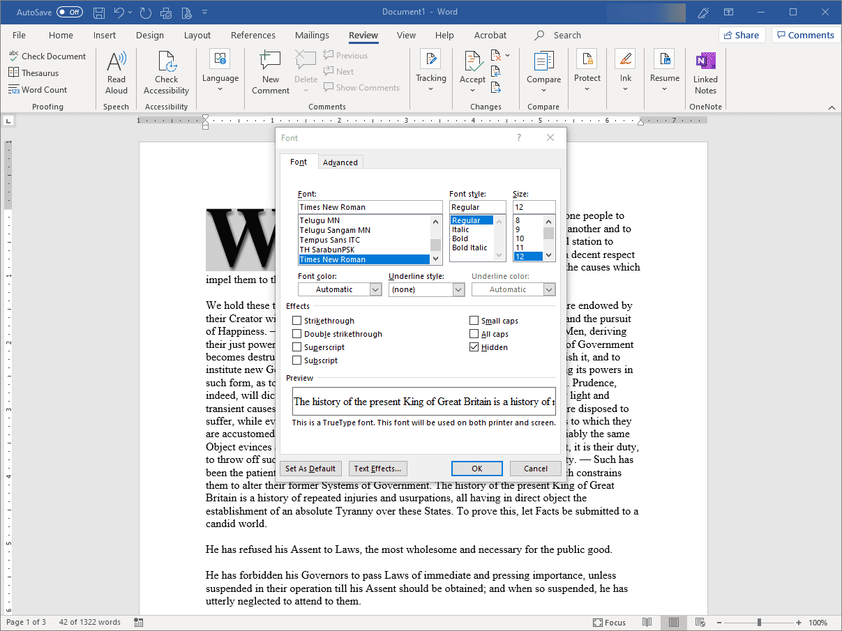 Working With Hidden Text in Word Documents