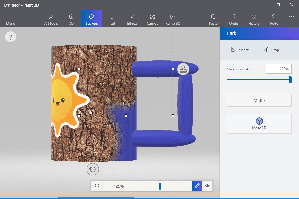 Screenshot showing how to apply texture stickers with Paint 3D