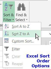 Excel Sort Order
