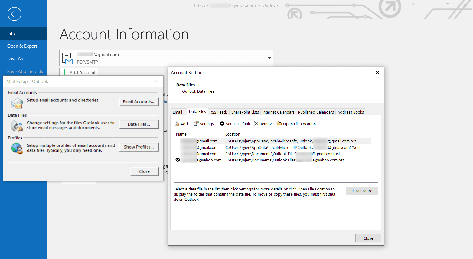 Data Files in Outlook