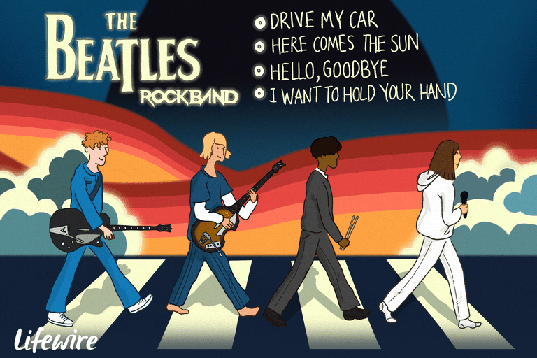 Group of Rockband players walking across Abbey Road crosswalk with a list of 4 tracks