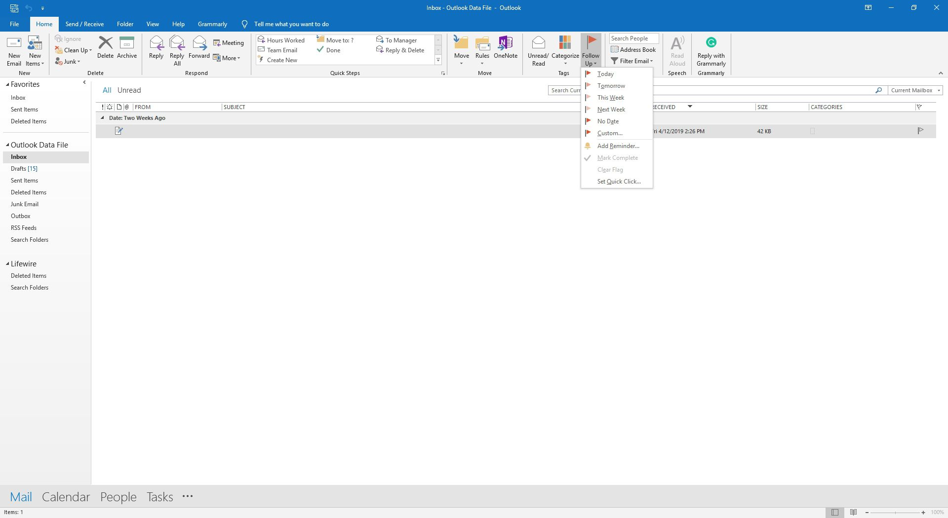 The Tags group in Outlook.