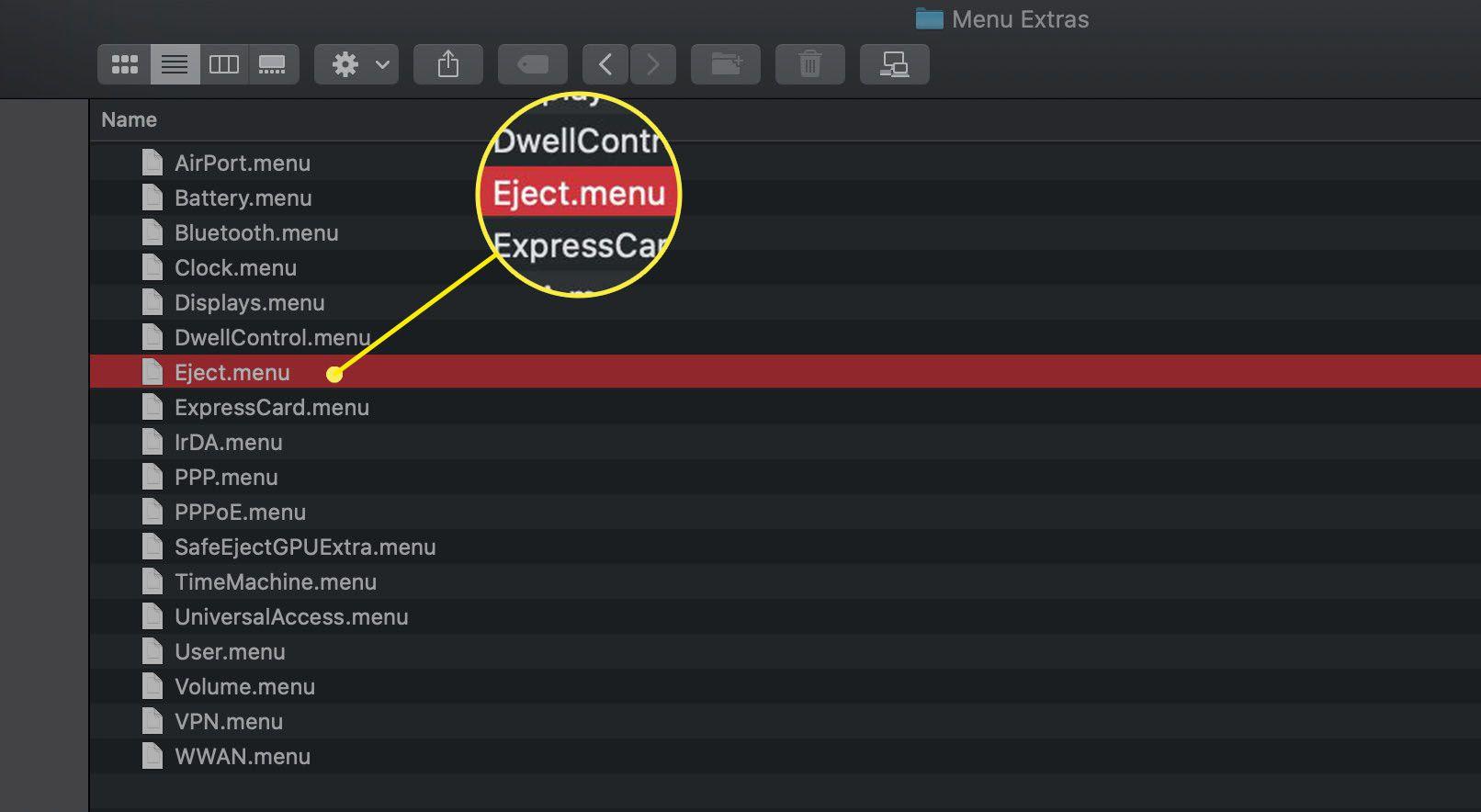 The Menu Extras Finder folder in macOS Catalina