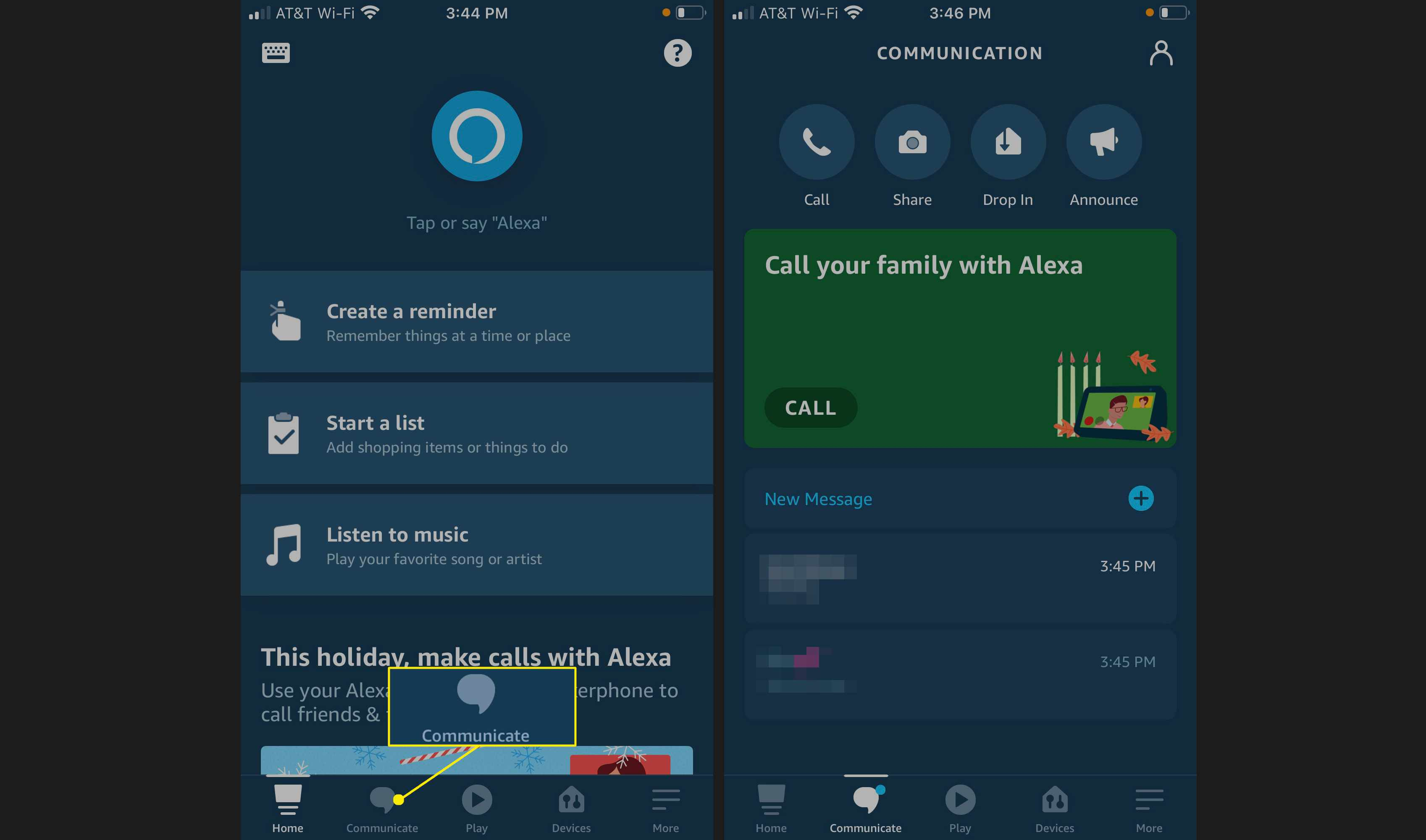 Tap the Communicate tab to make calls to someone on your Contacts list, send photos to Alexa devices, use the Drop-In feature, or make an announcement via compatible Echo devices.
