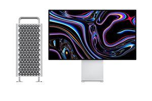 Mac Pro desktop computer and monitor setup