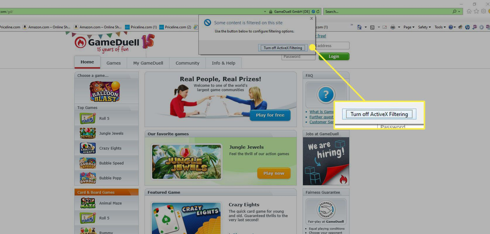 Internet Explorer with the Turn Off ActiveX Filtering button highlighted