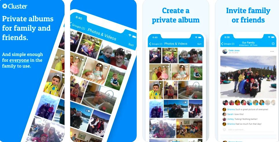 Cluster photo and video sharing app and site
