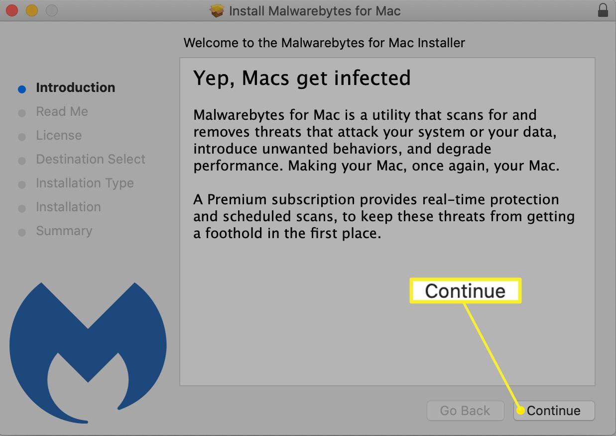 Malwarebytes for Mac install dialog box