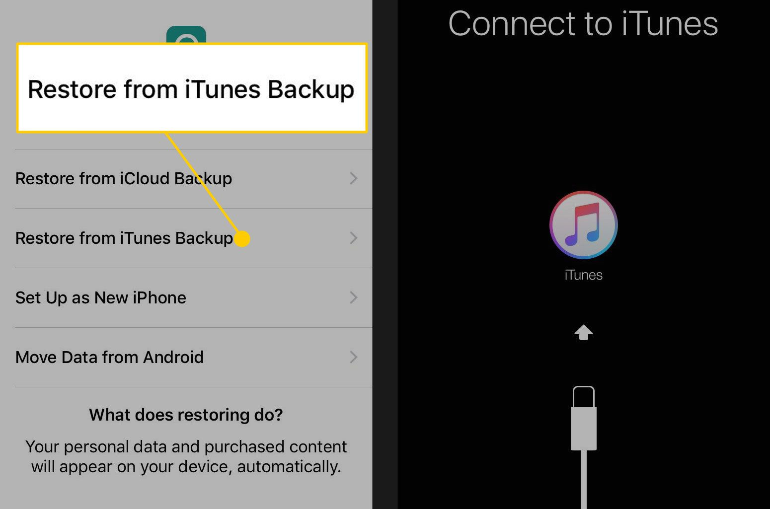 iPhone setup with the Restore from iTunes Backup option highlighted
