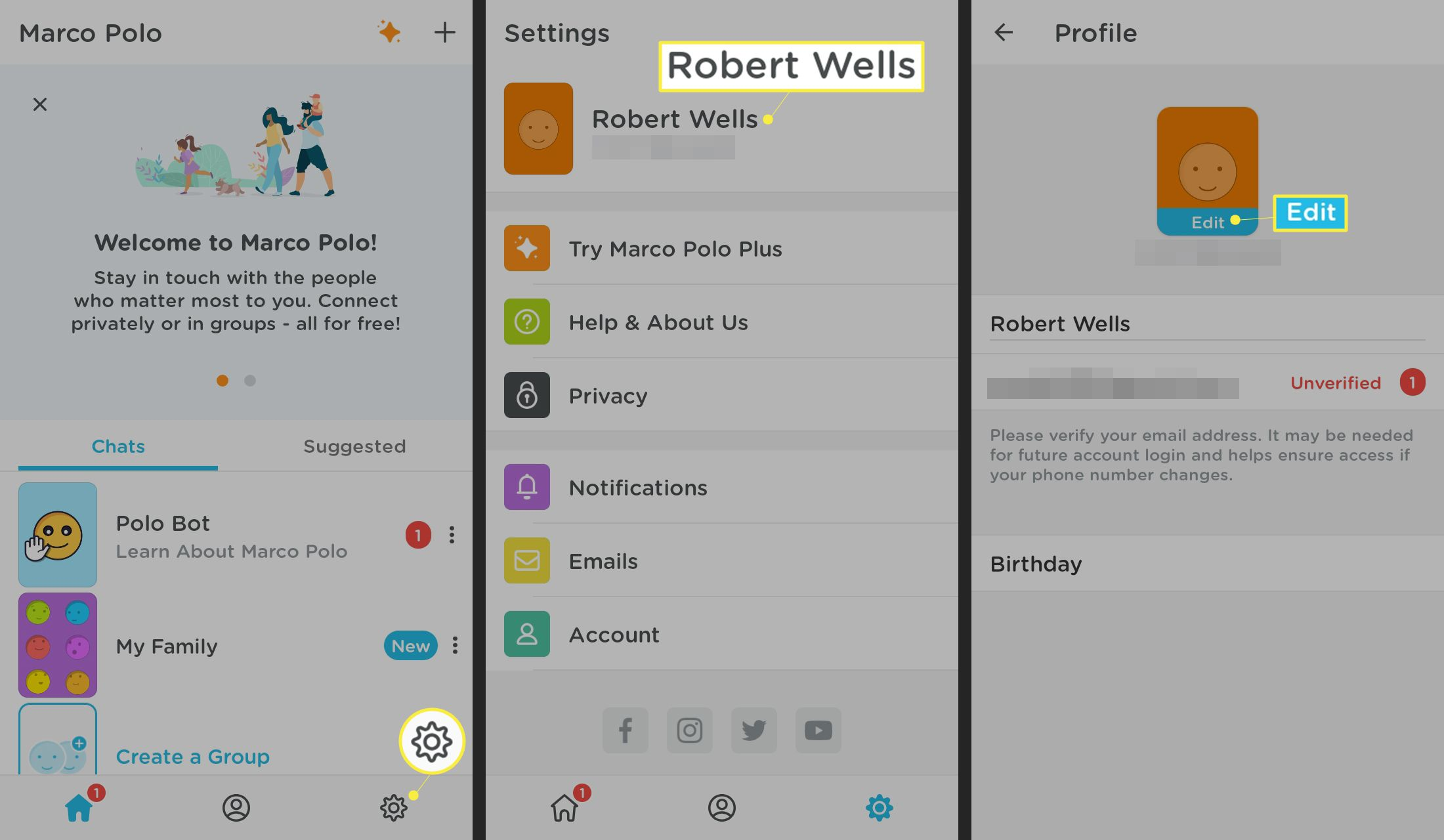 How to acess settings in the Marco Polo app