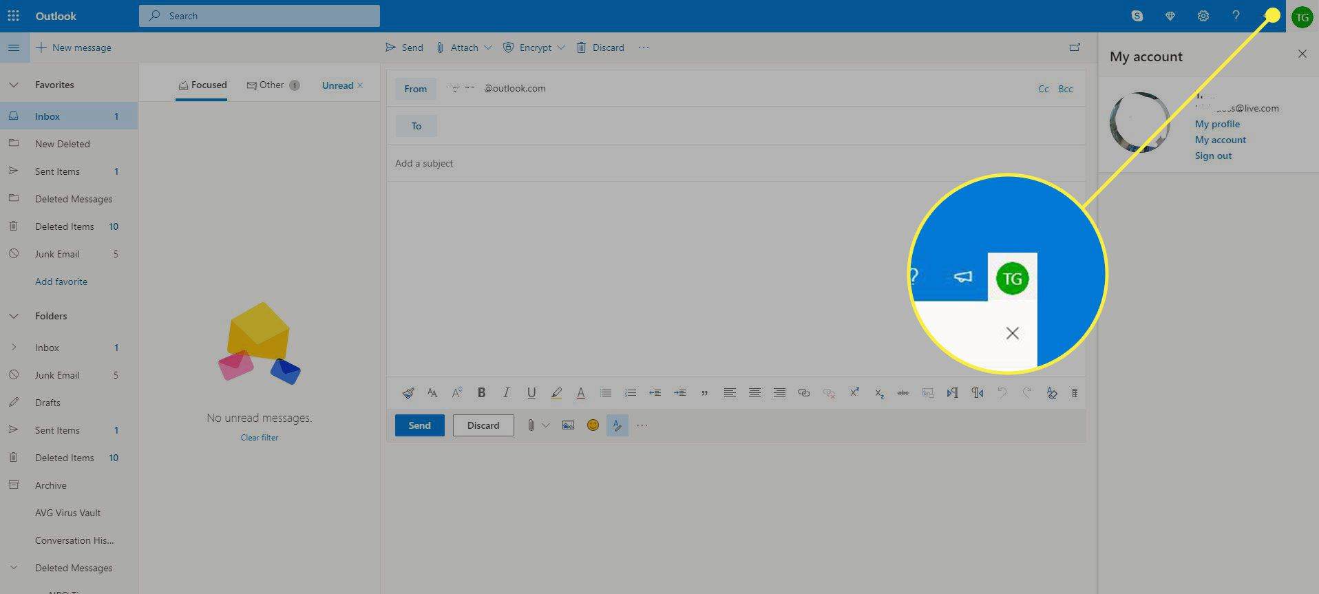 A screenshot of Outlook with the Account icon highlighted