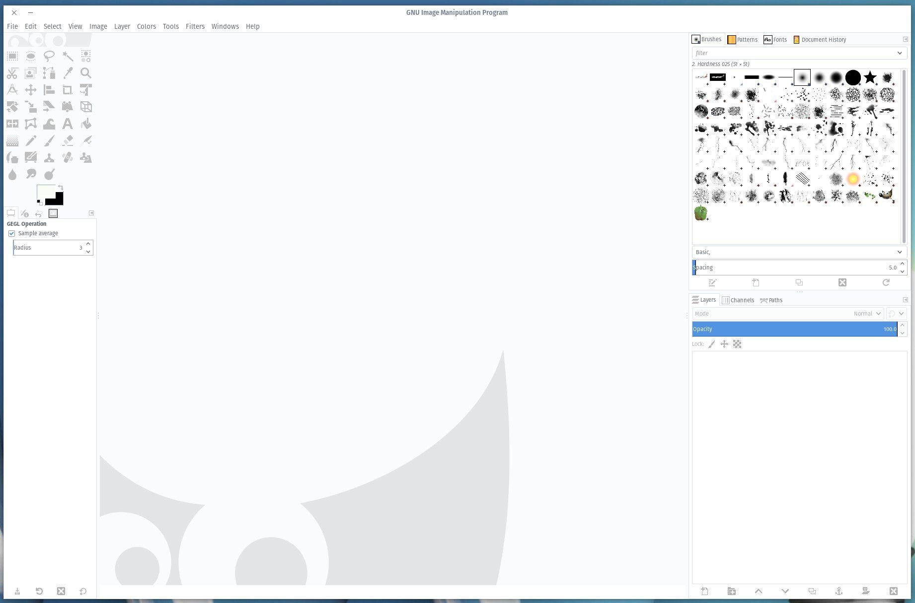 The GIMP interface.