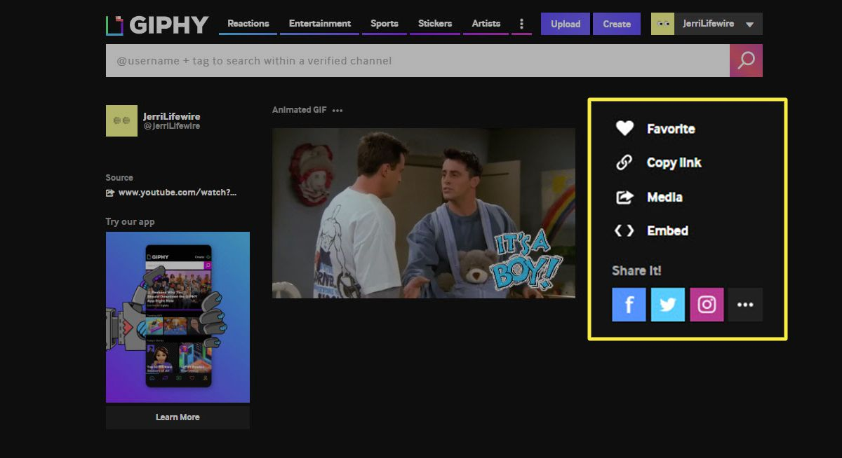 The options for sharing a GIF on Giphy.