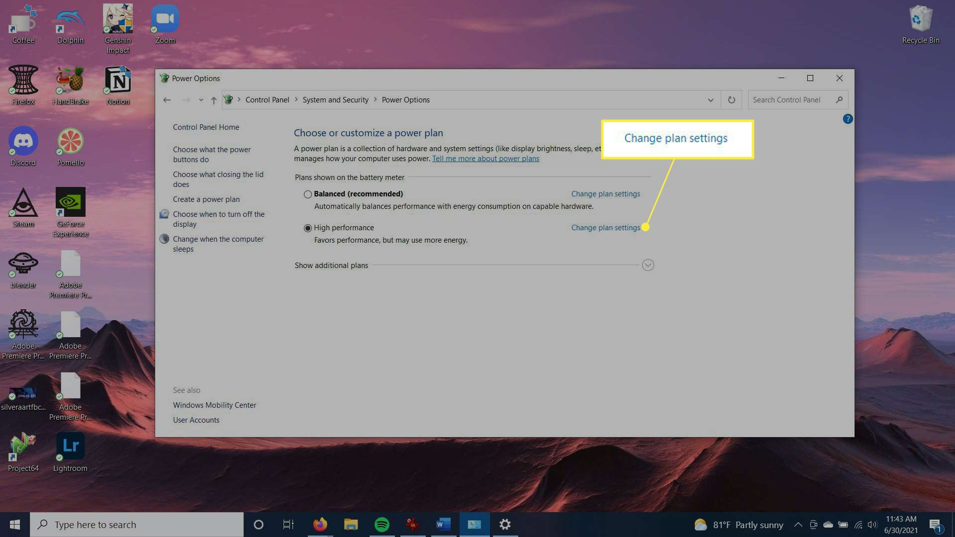 Power plan settings with an option to change plan settings