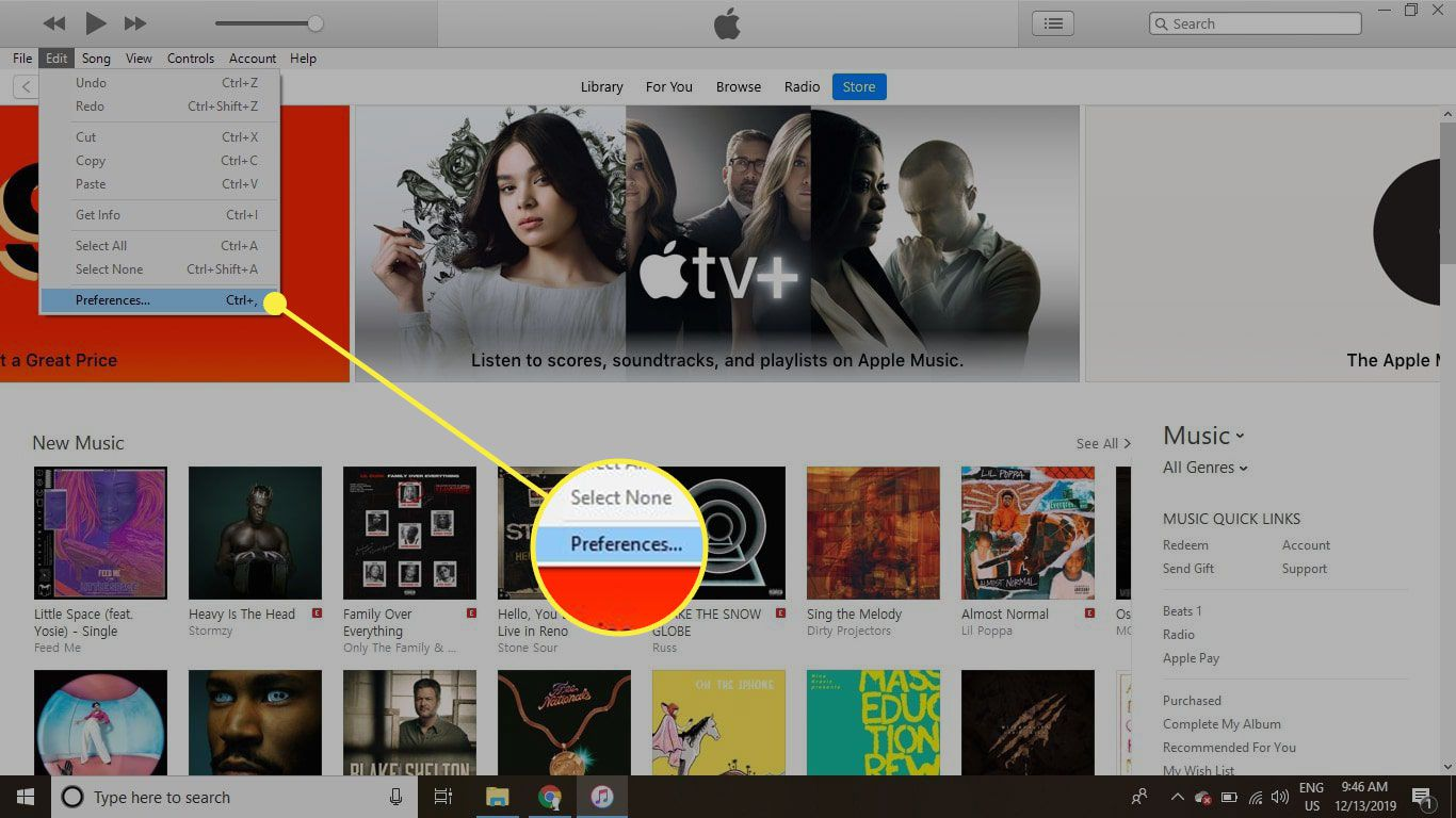 iTunes with the Preferences menu option highlighted