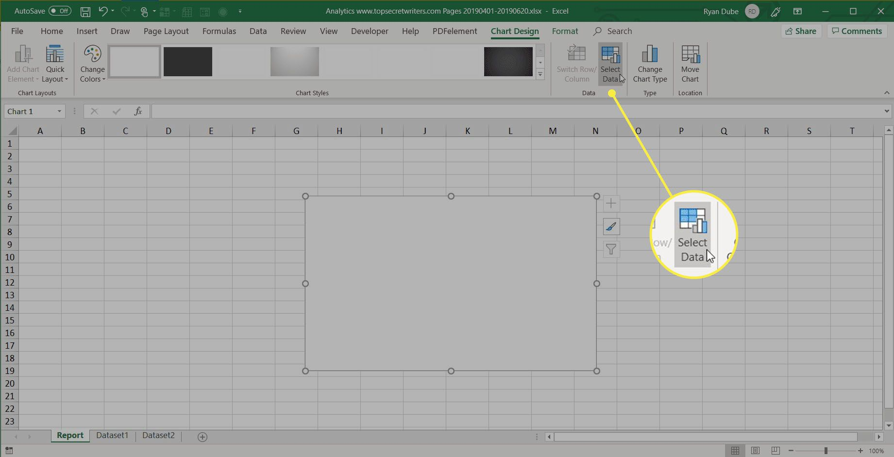 select data in Excel