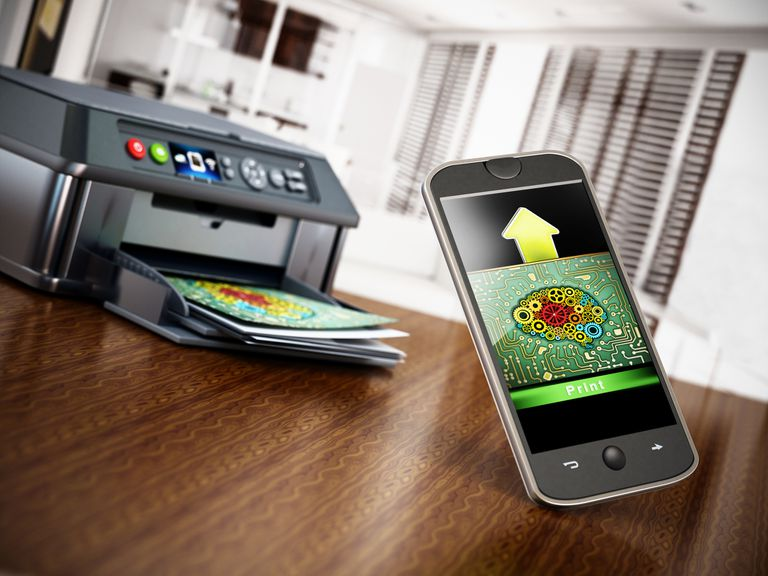 A smartphone sending a file to a printer
