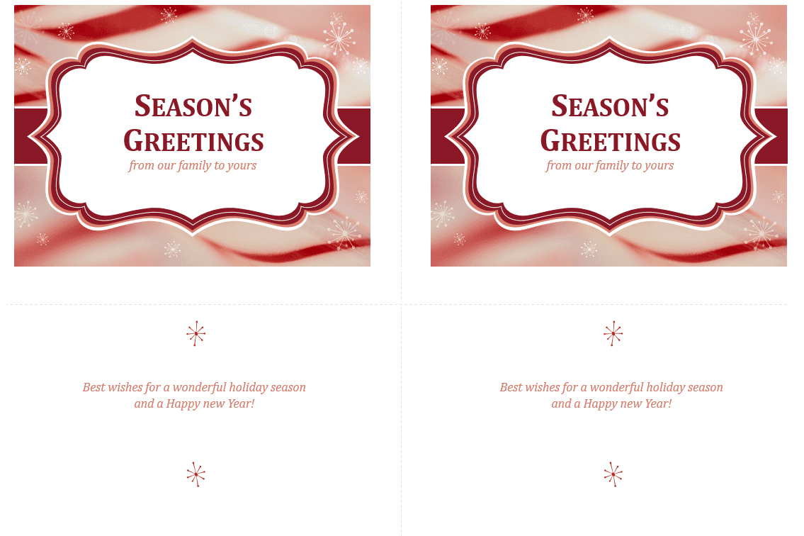 Screenshot of printable seasons greetings card templates from PowerPoint