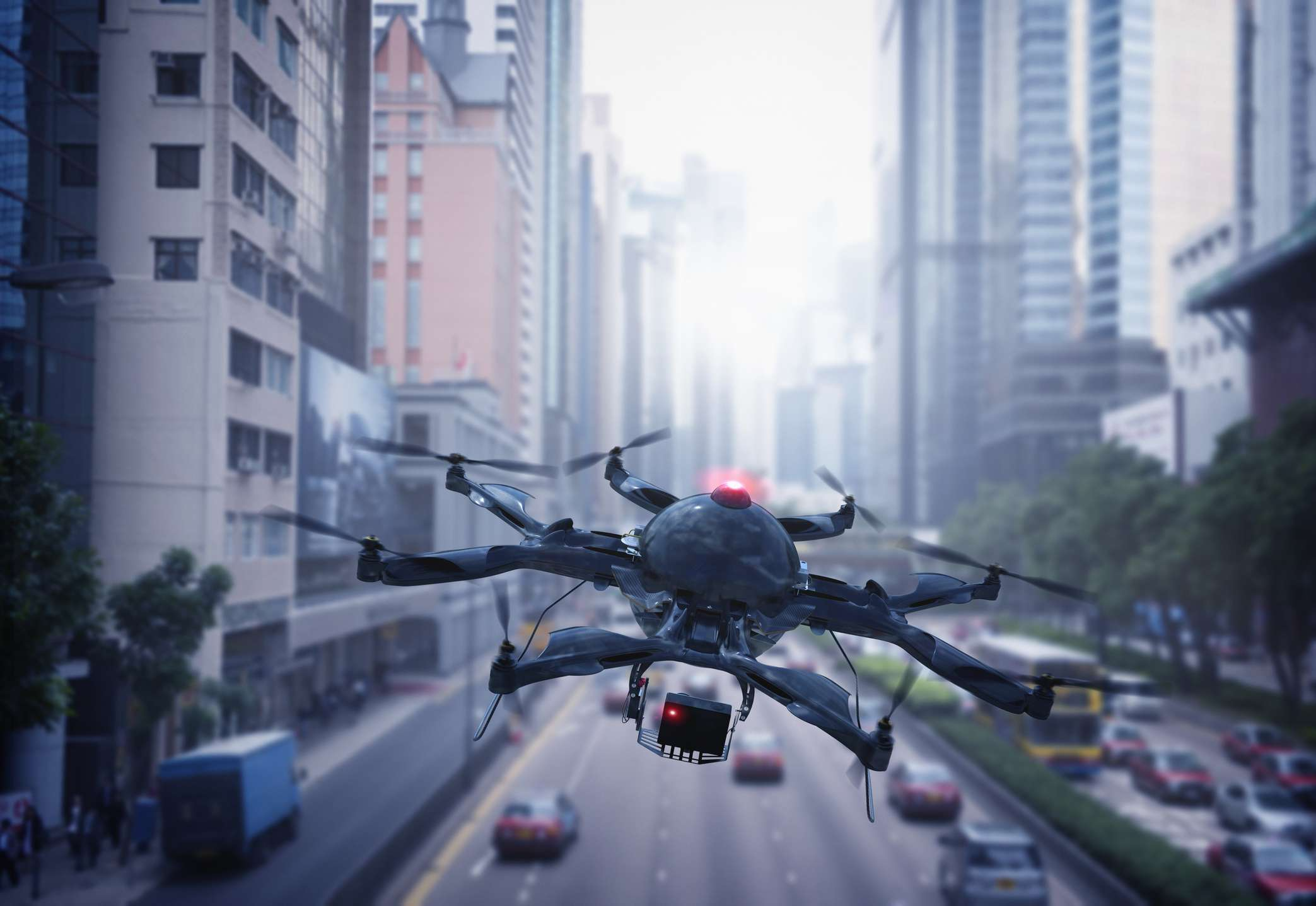 A drone flying over Hong Kong.