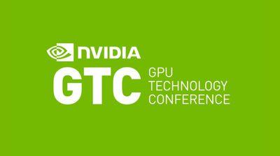 Nvidia GTC logo white on green background