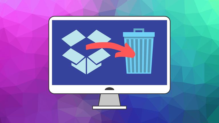 An image graphic showing the Dropbox icon and a trash can icon on a computer screen.
