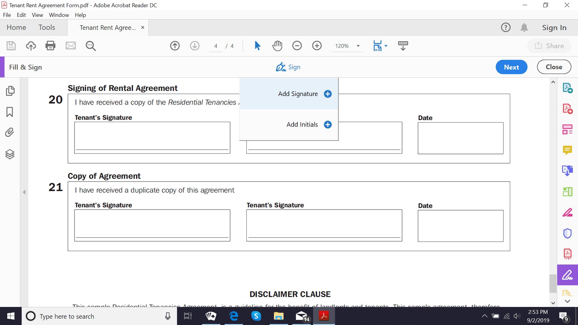 Adobe Acrobat Reader DC add signature