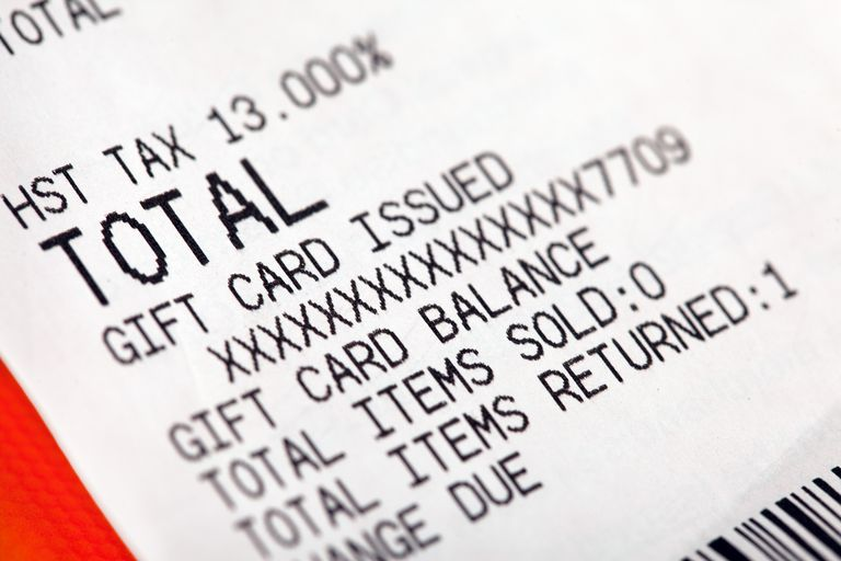 Gift card receipt close-up