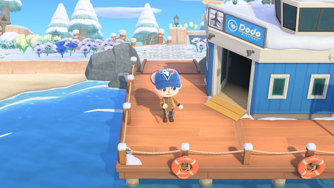 Standing outside Dodo Airlines in Animal Crossing: New Horizons