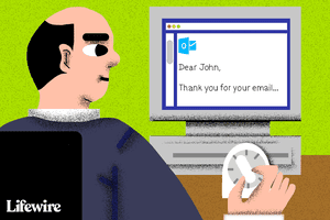 Illustration of a person at a computer screen looking at an email and winding a timer