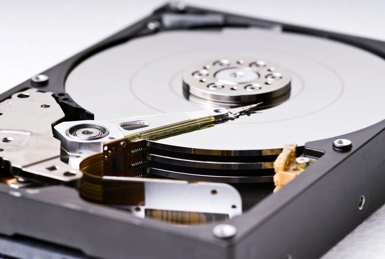 An opened hard drive, close up