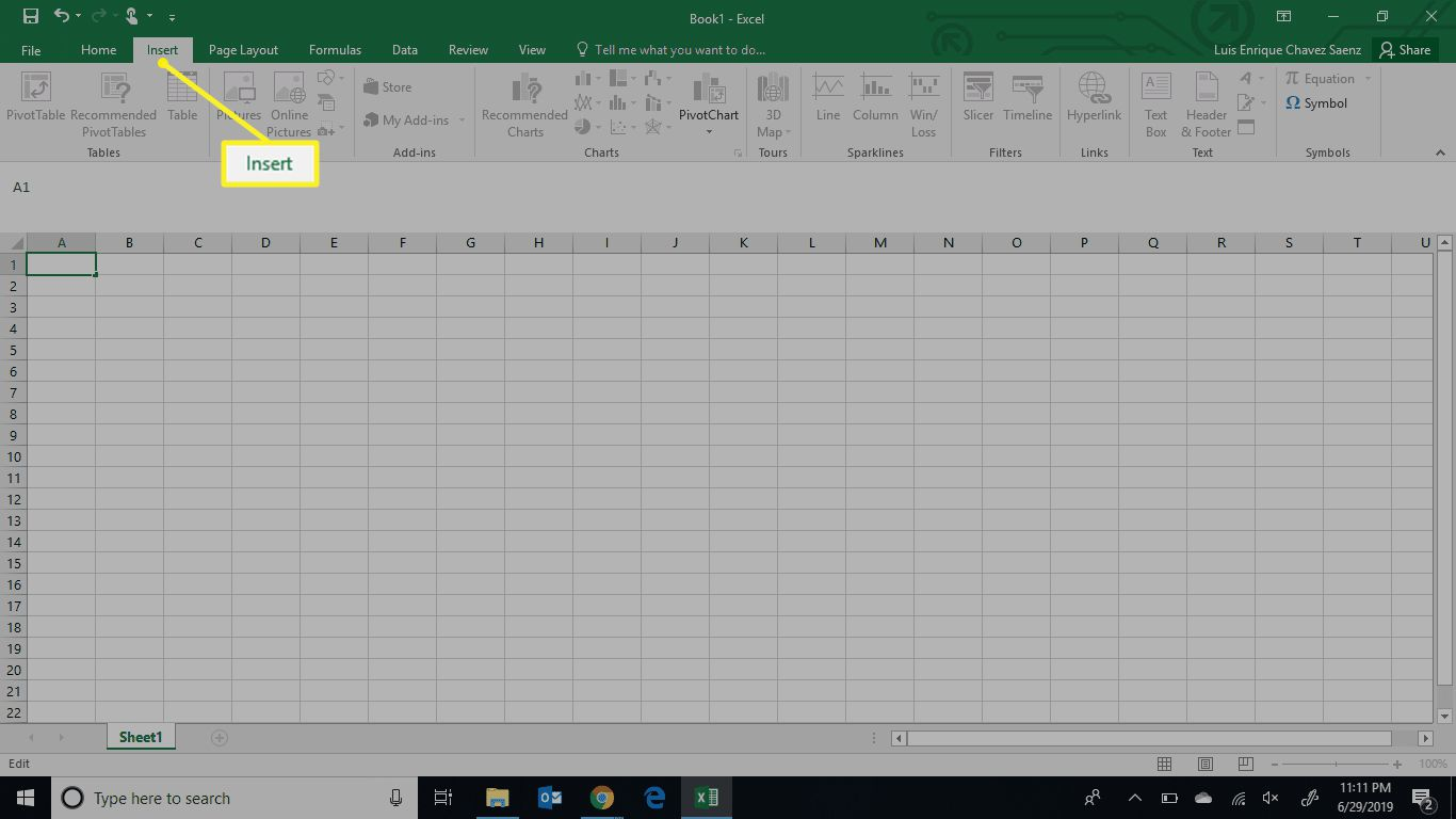 The Excel Insert tab