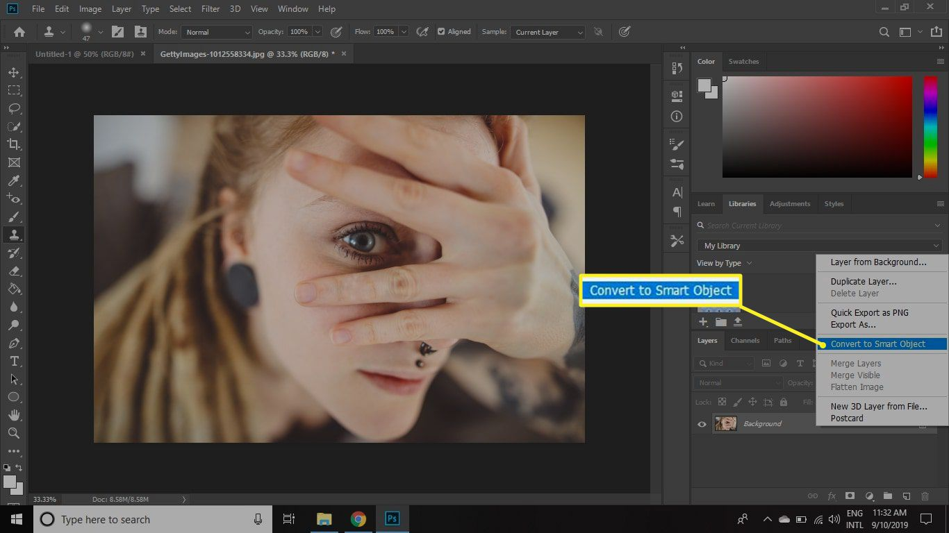 Converting a layer to a Smart Object
